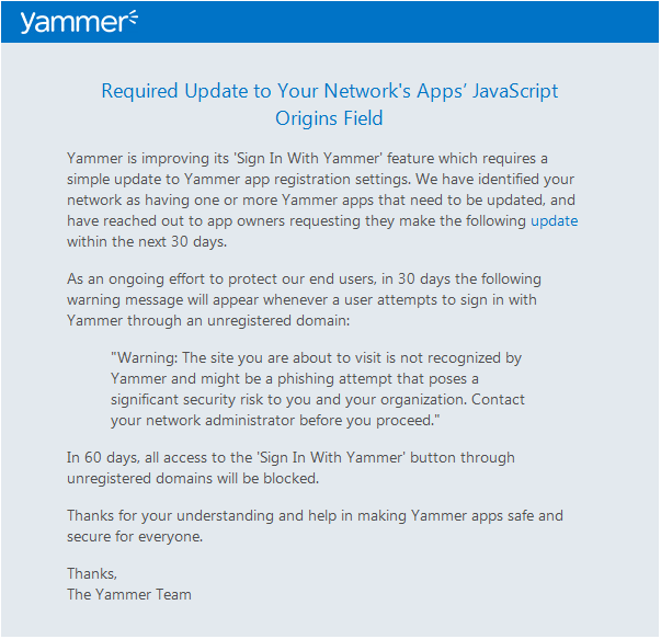 Yammer Apps: JavaScript Origins Update – Serendipitous Signals