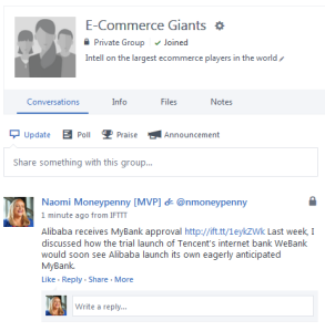 Blog or news post in Yammer